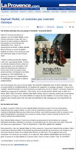"""Lire l'article """"Raphael Maillet, un violoniste pas vraiment classique"""" (journal La Provence)"""